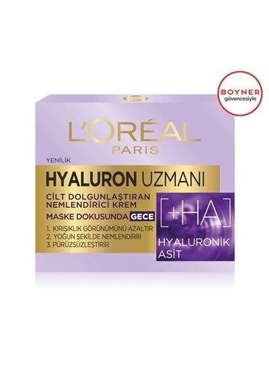 L'Oréal Paris Hyaluron Uzmanı Cilt Dolgunlaştıran Nemlendirici Maske Dokusunda Gece Kremi Renksiz